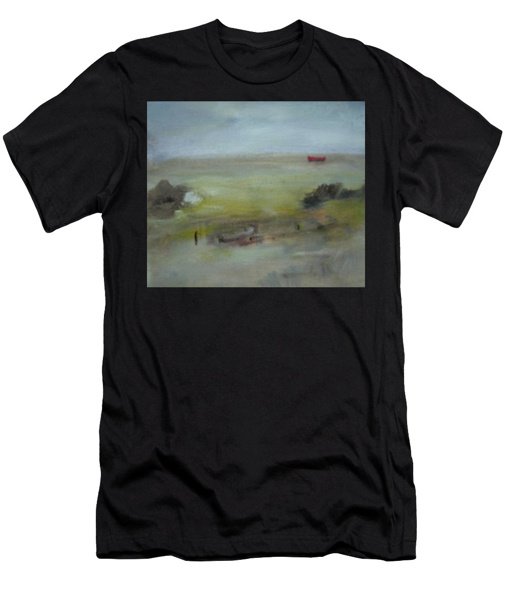 Beach Men's T-Shirt (Athletic Fit) featuring the painting Rosbeg Beach by Mary Feeney