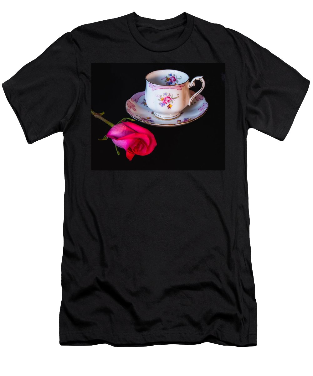 Rose Men's T-Shirt (Athletic Fit) featuring the photograph Rose And Tea Cup by Lindley Johnson