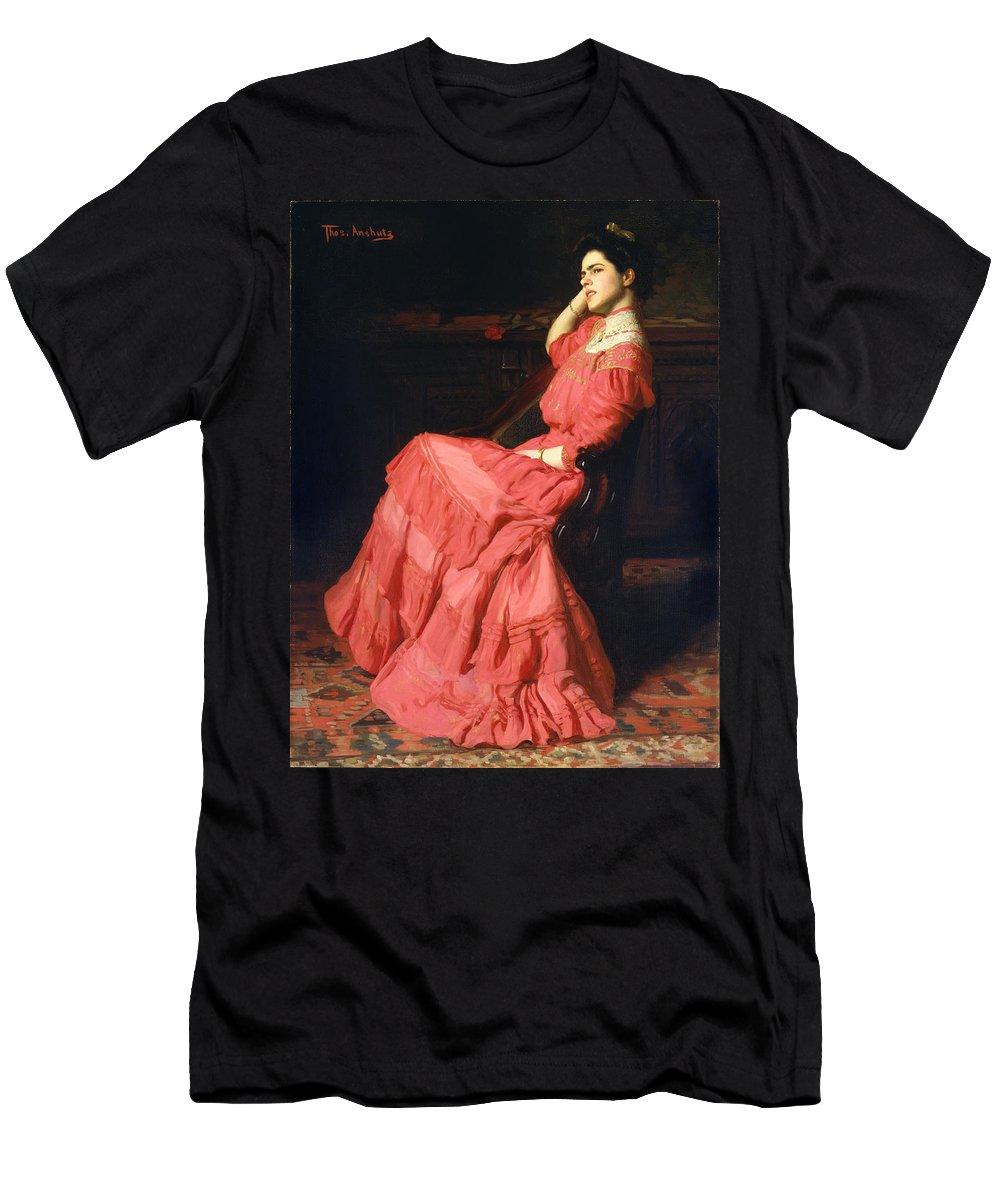 Thomas Pollock Anshutz Men's T-Shirt (Athletic Fit) featuring the painting Rose Garden by Thomas Pollock Anshutz