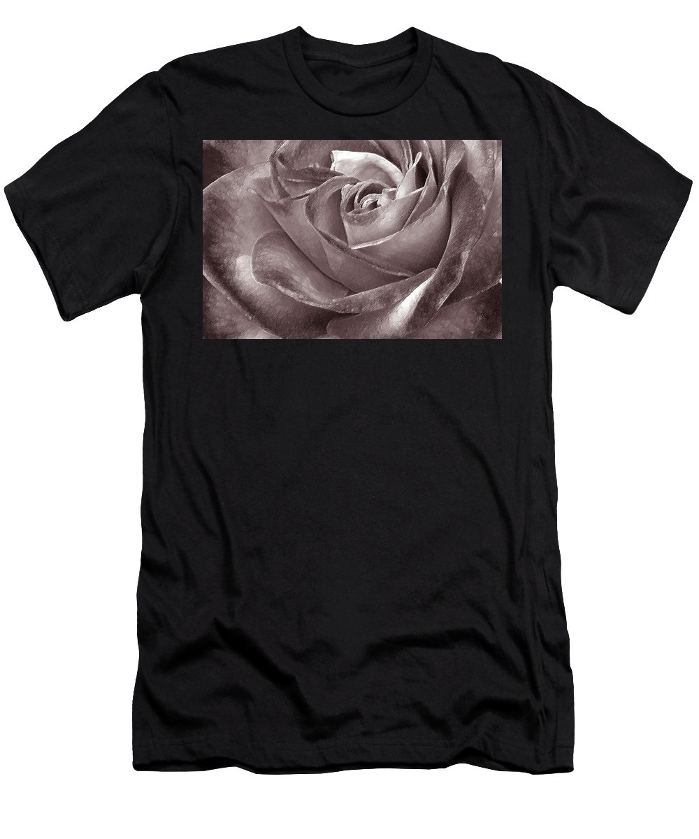 Rose Men's T-Shirt (Athletic Fit) featuring the photograph Rose In Black And White by Ben and Raisa Gertsberg