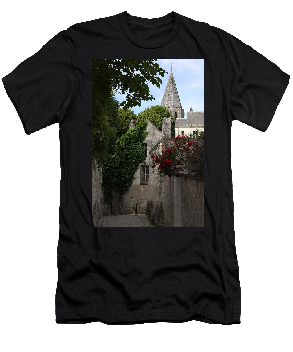 Narrow Street Men's T-Shirt (Athletic Fit) featuring the photograph Rose Lane In Loches by Christiane Schulze Art And Photography