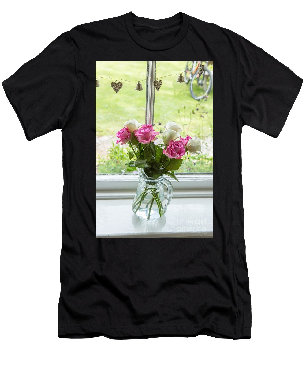 Roses In Vase Men's T-Shirt (Athletic Fit) featuring the photograph Rose Vase With Hearts by Iris Richardson