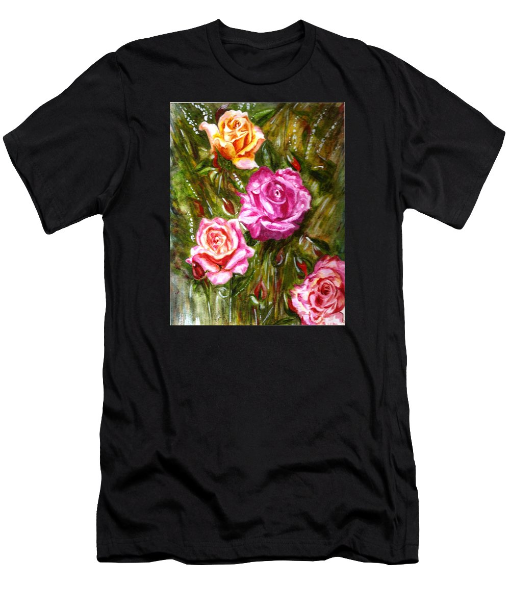 Landscape Men's T-Shirt (Athletic Fit) featuring the painting Roses by Harsh Malik