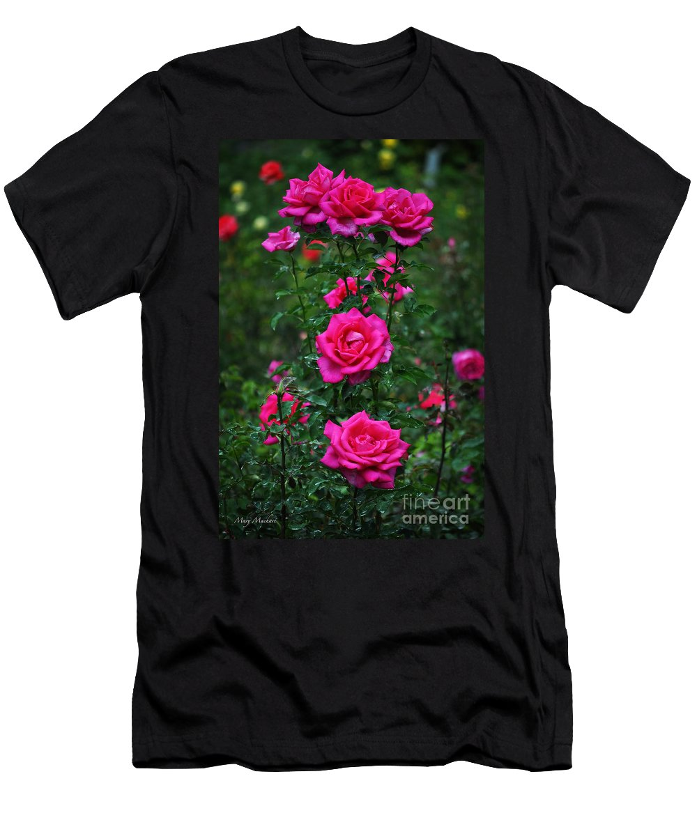 Pink Roses Men's T-Shirt (Athletic Fit) featuring the photograph Roses In The Garden by Mary Machare