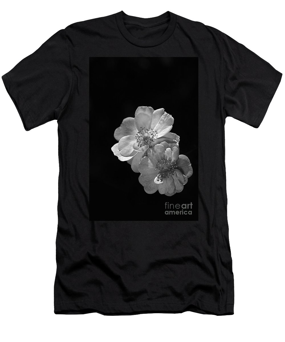 Roses On Black Men's T-Shirt (Athletic Fit) featuring the photograph Roses On Black by Joy Watson