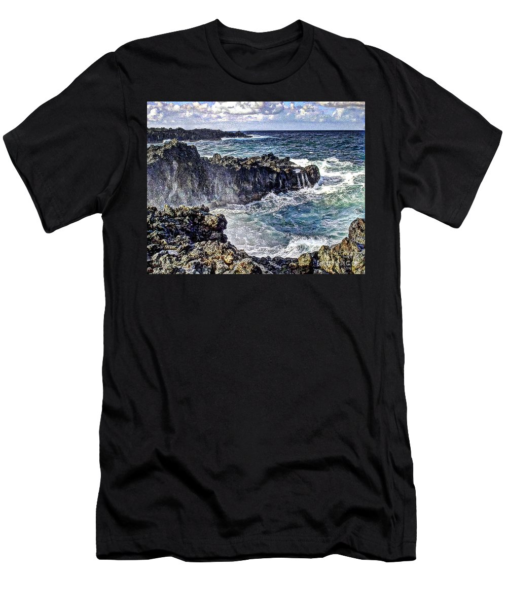 Hawaii Men's T-Shirt (Athletic Fit) featuring the photograph Rough Rocks Near Hana by Flamingo Graphix John Ellis