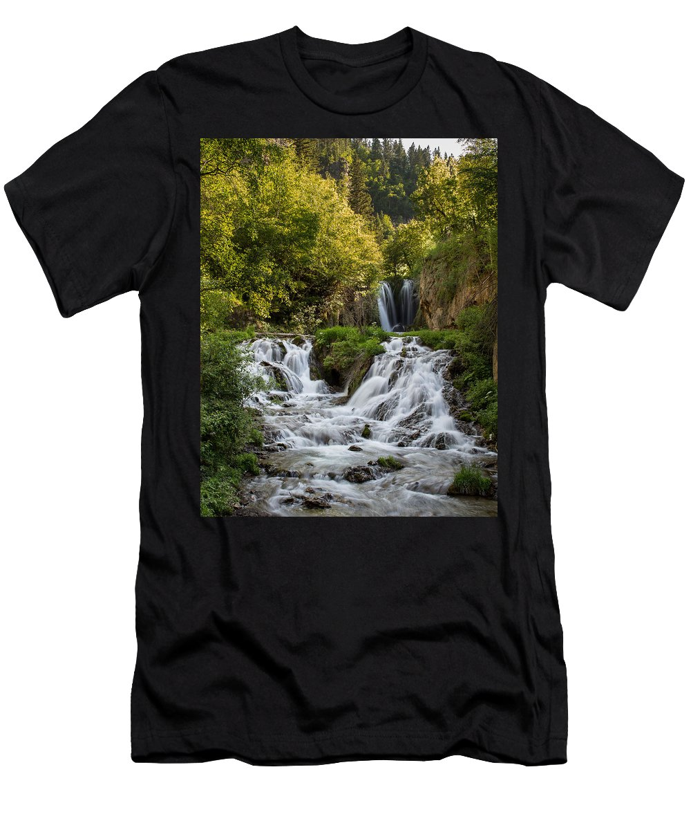 Waterfall Men's T-Shirt (Athletic Fit) featuring the photograph Roughlock Falls South Dakota by Patti Deters