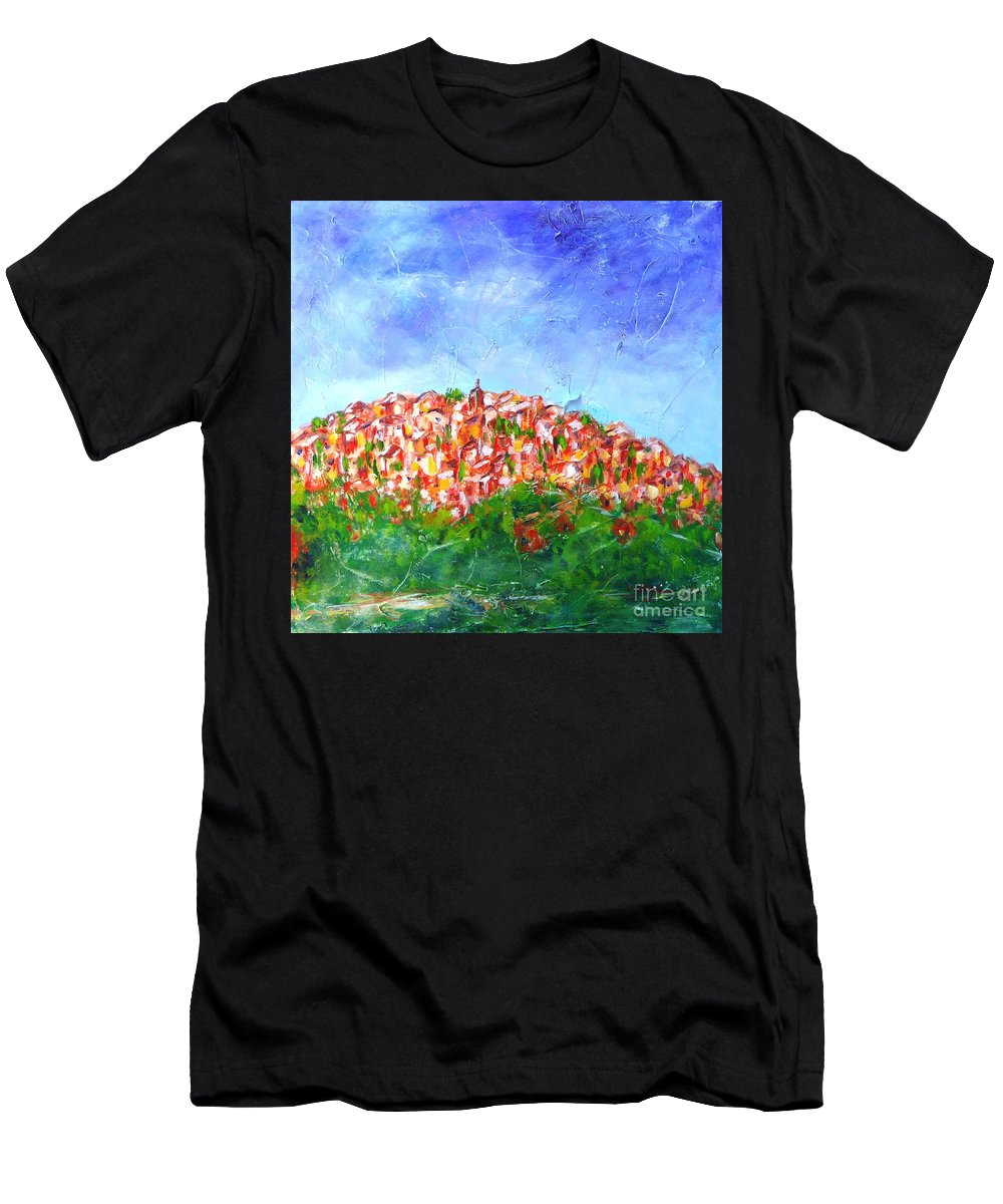 Provence Men's T-Shirt (Athletic Fit) featuring the painting Roussillon Village by Cristina Stefan