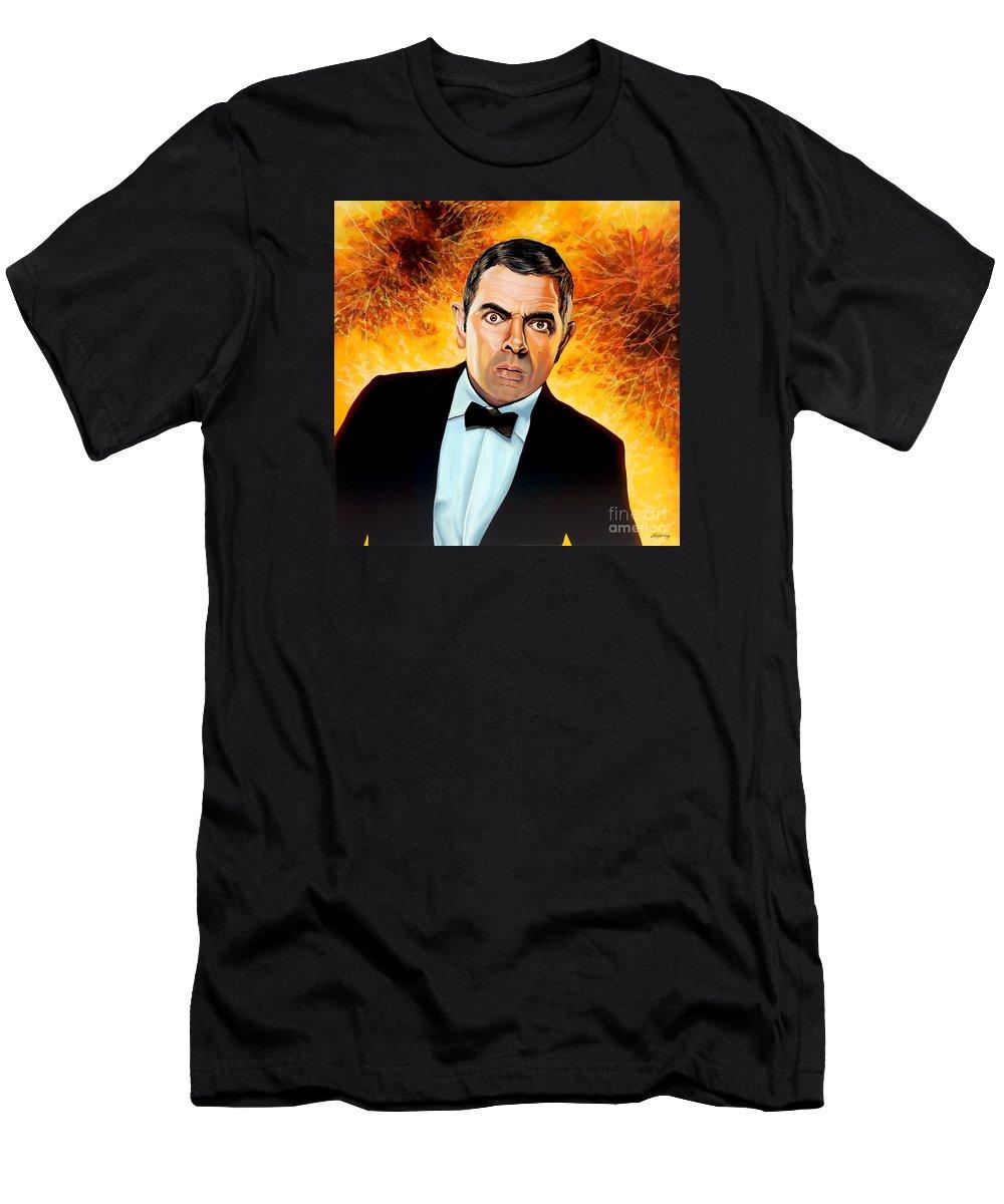 Rowan Atkinson Men's T-Shirt (Athletic Fit) featuring the painting Rowan Atkinson Alias Johnny English by Paul Meijering