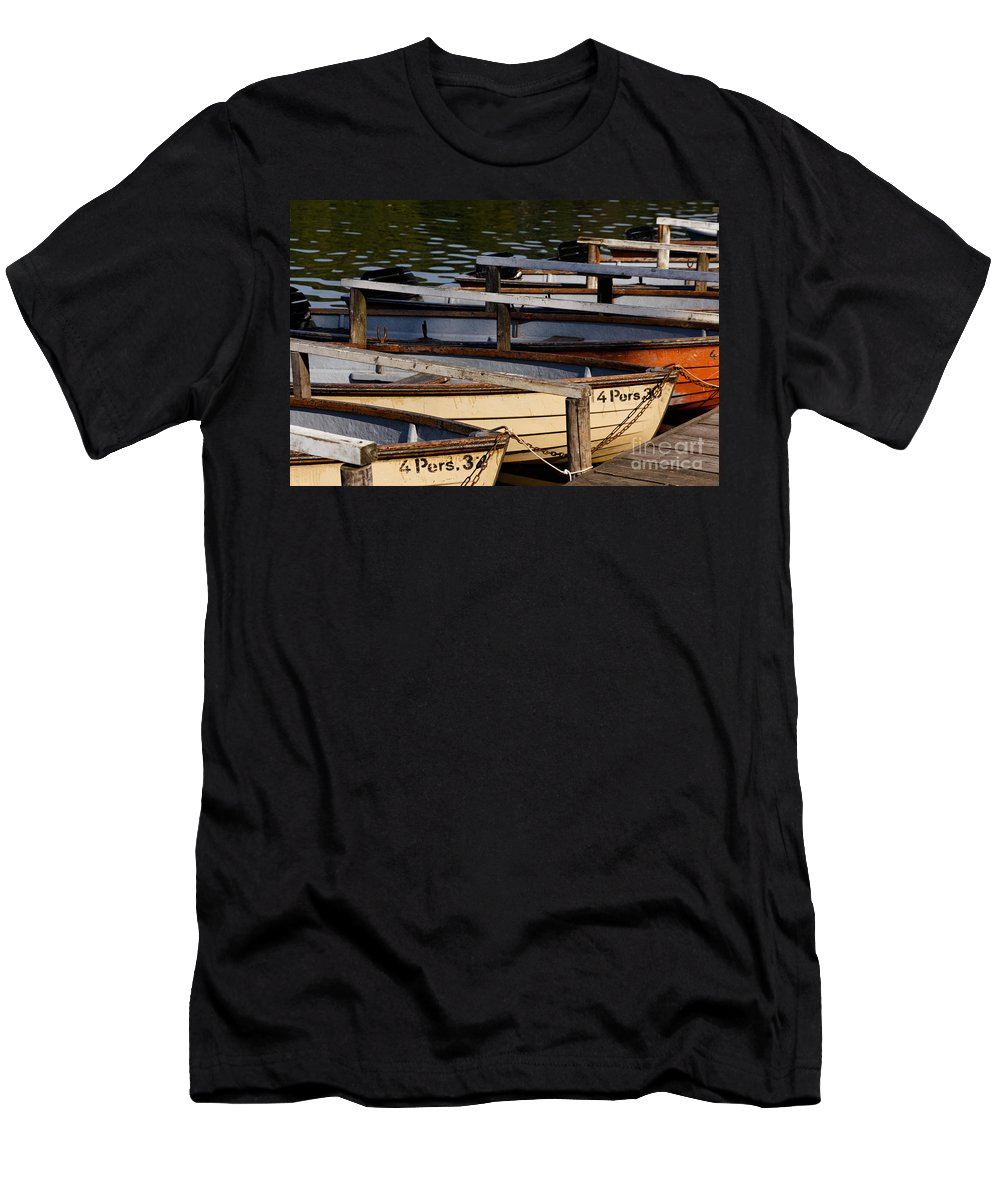 Afternoon Men's T-Shirt (Athletic Fit) featuring the photograph Rowboats At A Lake by Jannis Werner