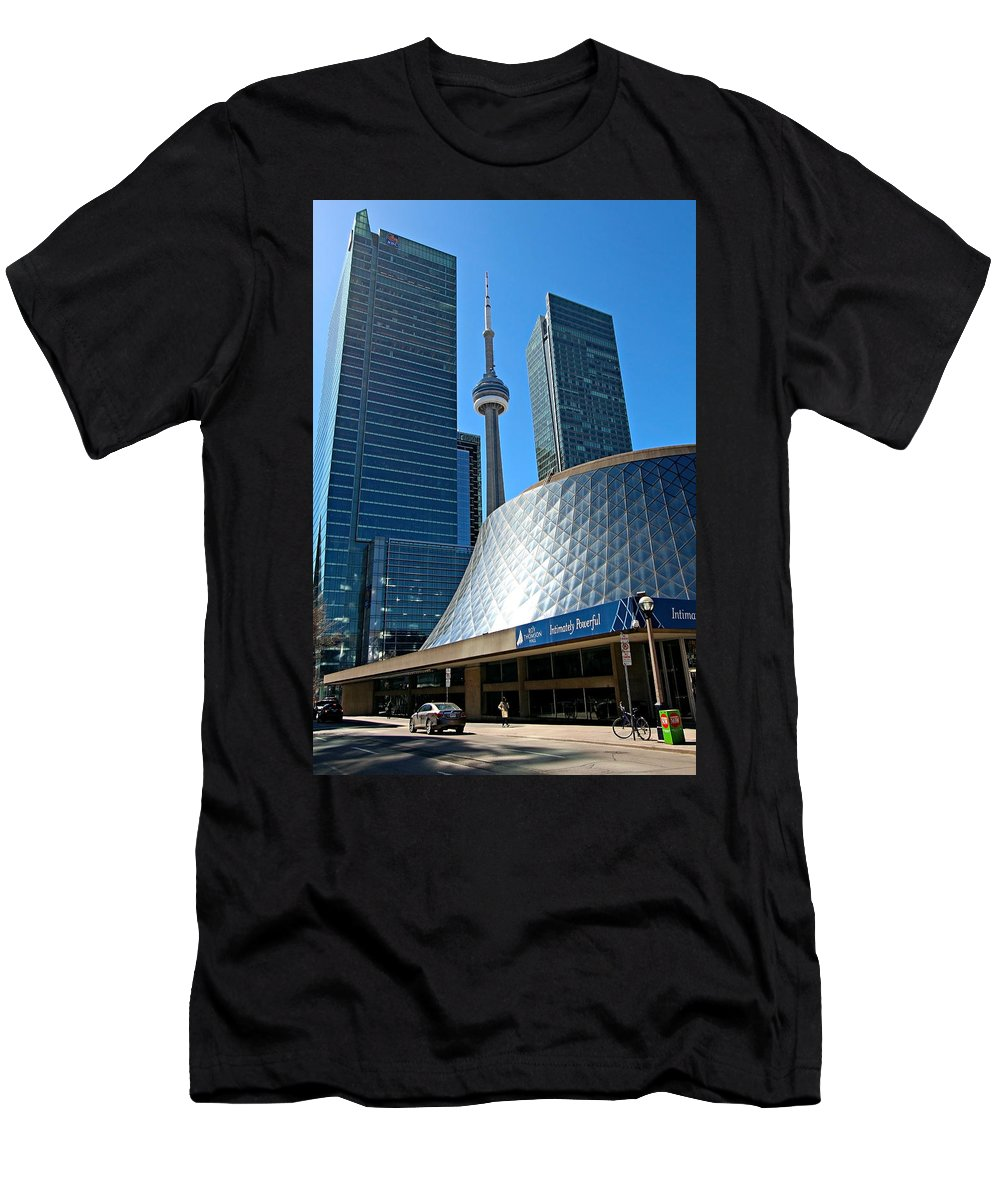 Toronto Men's T-Shirt (Athletic Fit) featuring the photograph Roy Thomson Hall And Cn Tower by Paul Fell
