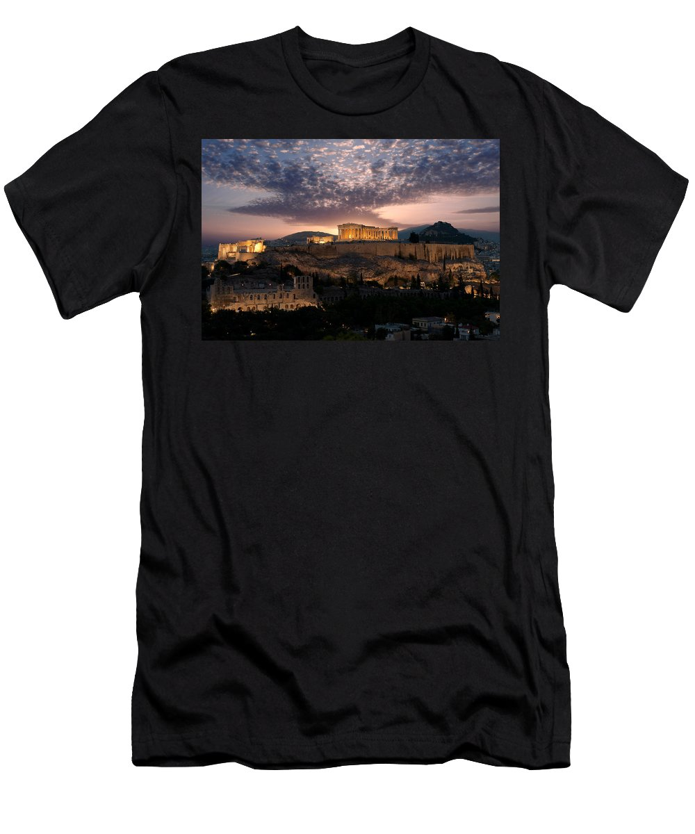Photography Men's T-Shirt (Athletic Fit) featuring the photograph Ruins Of A Temple, Athens, Attica by Panoramic Images