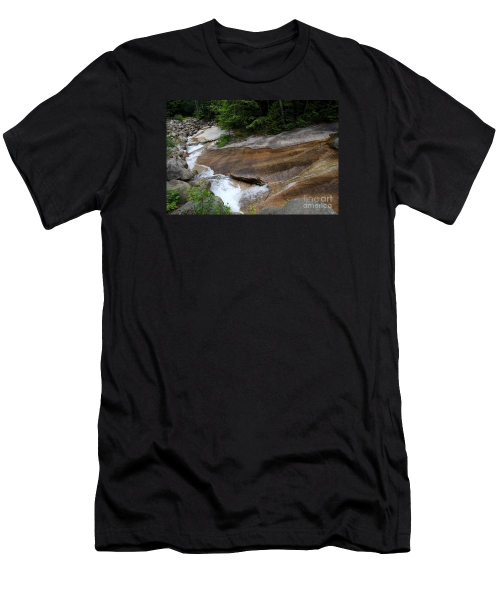 Pemigewasset River Men's T-Shirt (Athletic Fit) featuring the photograph Running Over Granite by Christiane Schulze Art And Photography