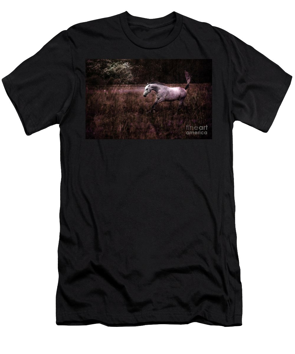 Grey Horse Men's T-Shirt (Athletic Fit) featuring the photograph Running Through The Purple World by Angel Ciesniarska