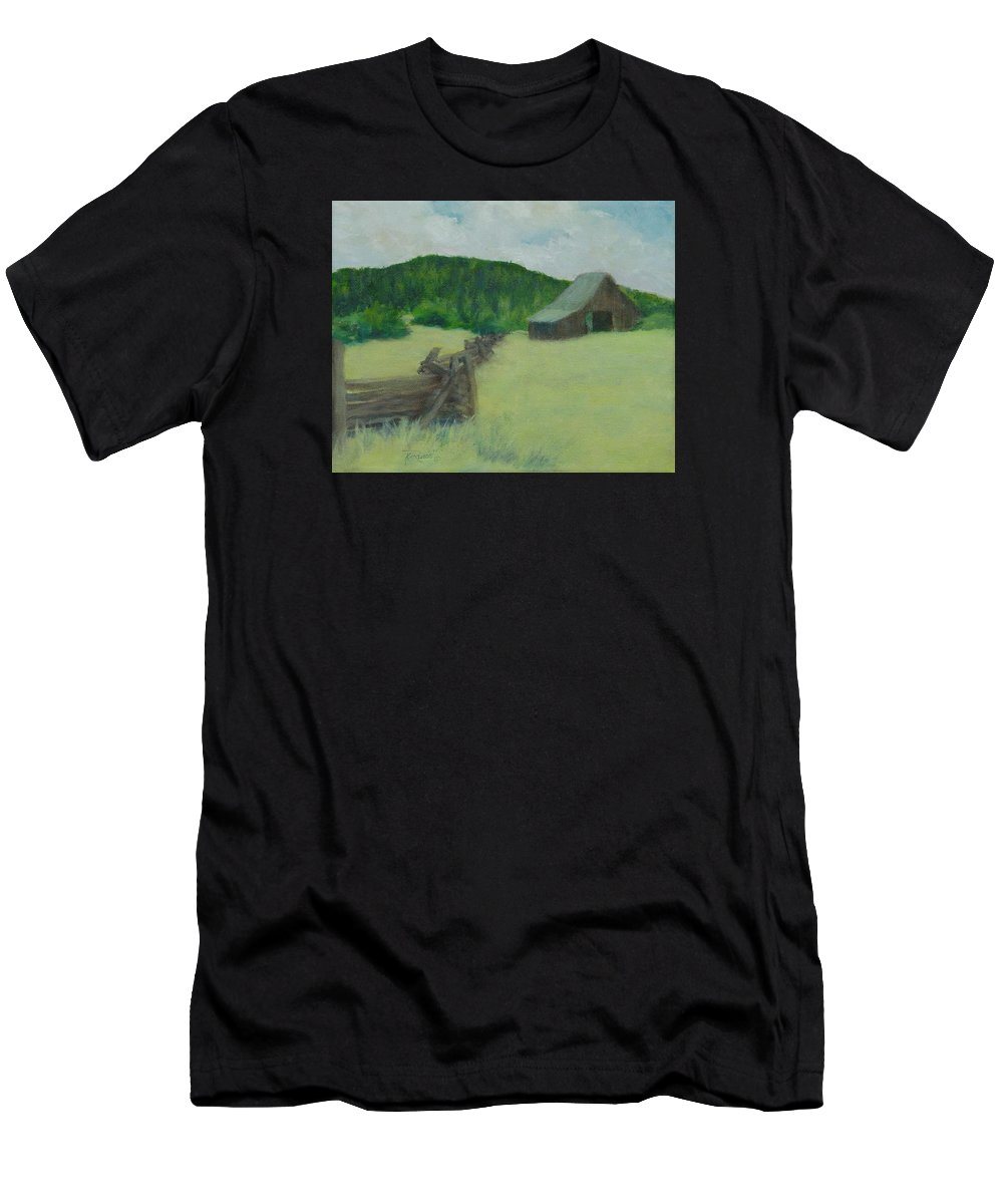 Rural Landscape Paintings Men's T-Shirt (Athletic Fit) featuring the painting Rural Landscape Colorful Oil Painting Barn Fence by K Joann Russell
