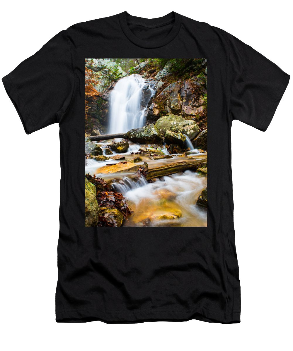 Peavine Falls Men's T-Shirt (Athletic Fit) featuring the photograph Rushing Falls by Parker Cunningham