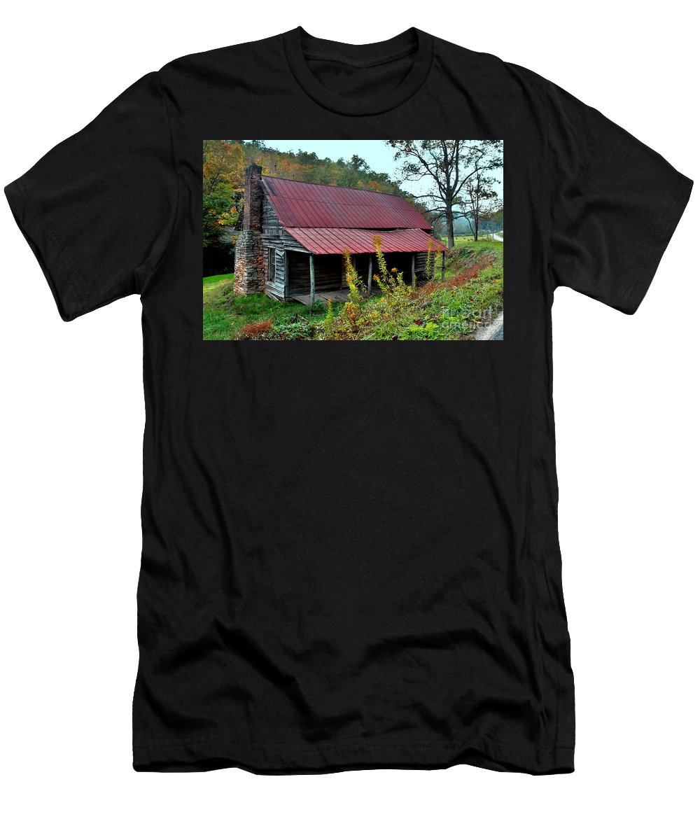 Pisgah National Forest Men's T-Shirt (Athletic Fit) featuring the photograph Rustic House II by Jeff McJunkin