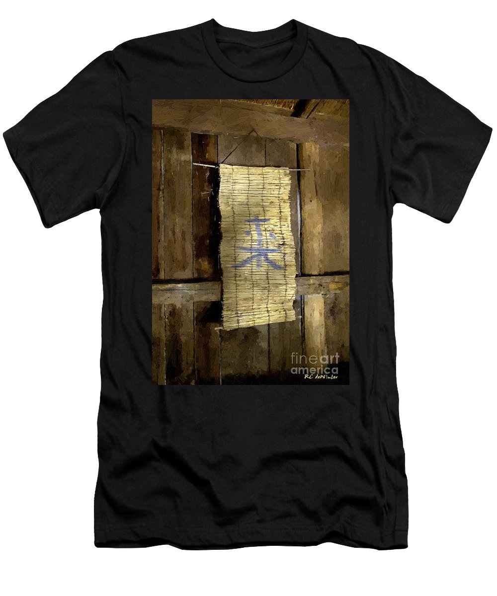 Japanese Men's T-Shirt (Athletic Fit) featuring the painting Rustic Teahouse by RC DeWinter