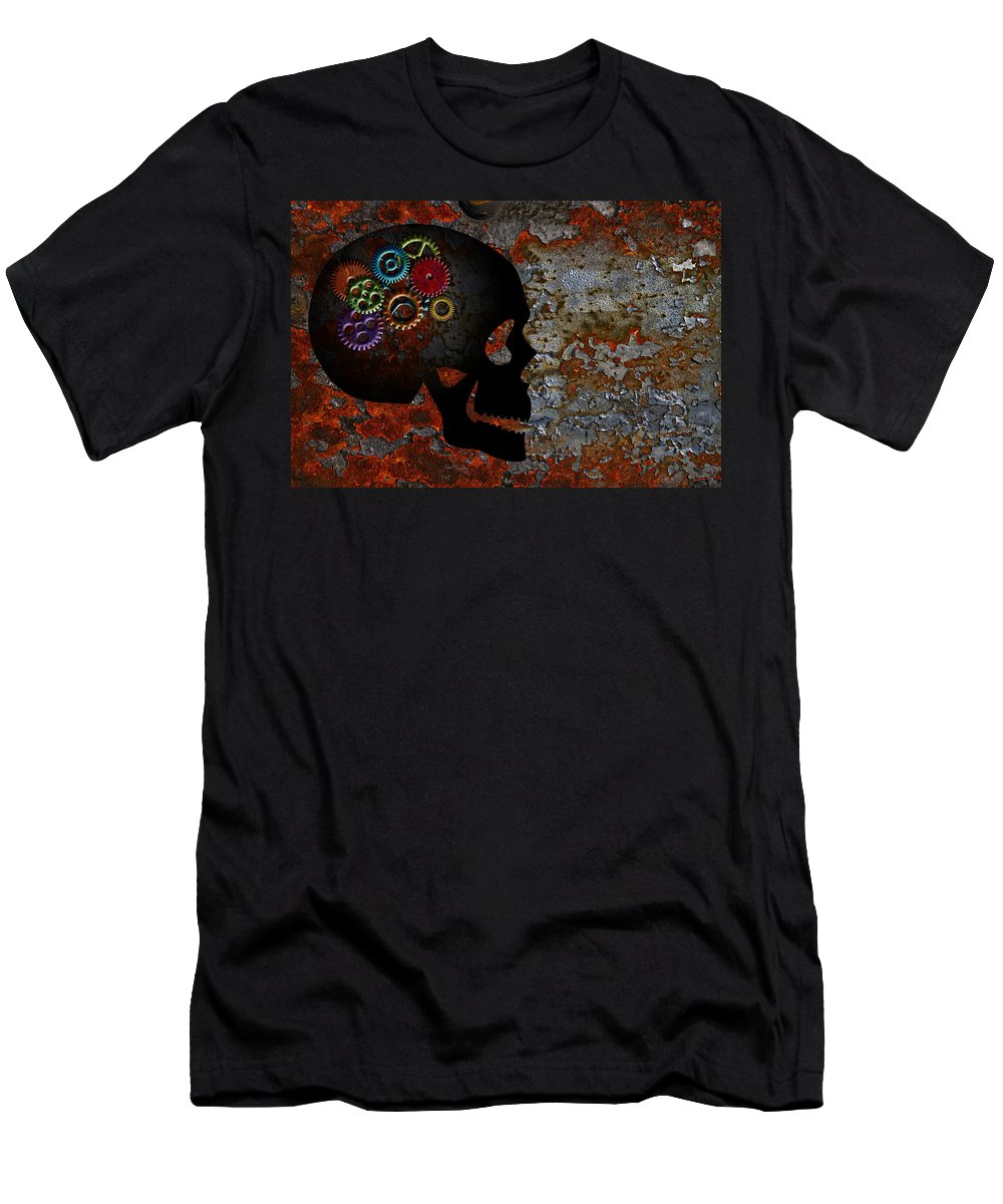 Rusty Men's T-Shirt (Athletic Fit) featuring the photograph Rusty Gears On Skull Grunge Texture Background by Jit Lim