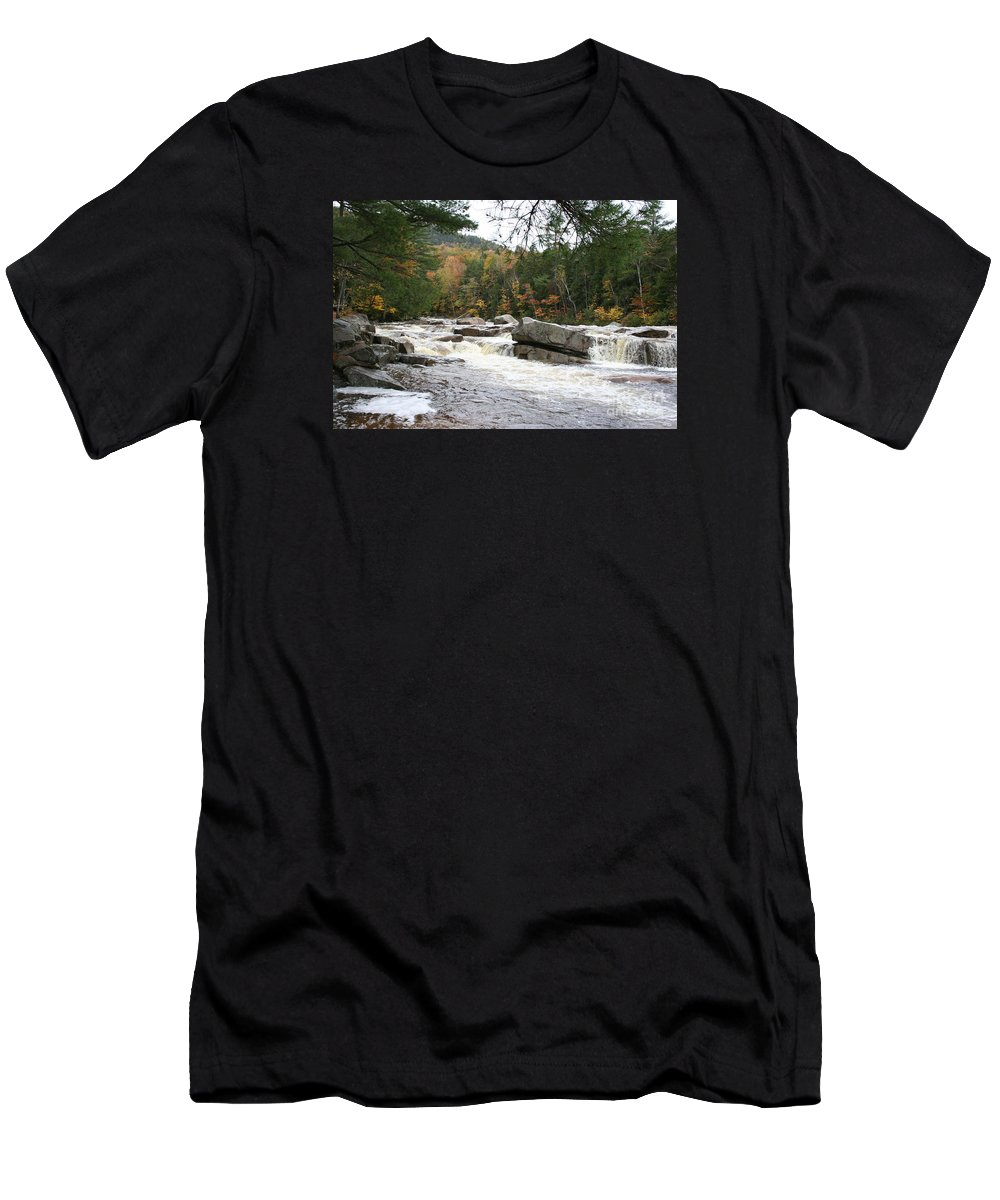 River Men's T-Shirt (Athletic Fit) featuring the photograph Saco River Rapids North Conway I by Christiane Schulze Art And Photography