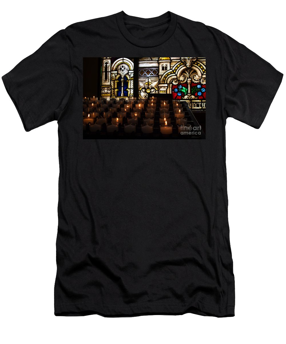 Stained Glass Church Catholic Sacred Heart Parish Downtown Tampa Fl Florida Christian Jesus God Prayer Candles Votive Tealight Men's T-Shirt (Athletic Fit) featuring the photograph Sacred Heart Prayer Candles by Karl Greeson