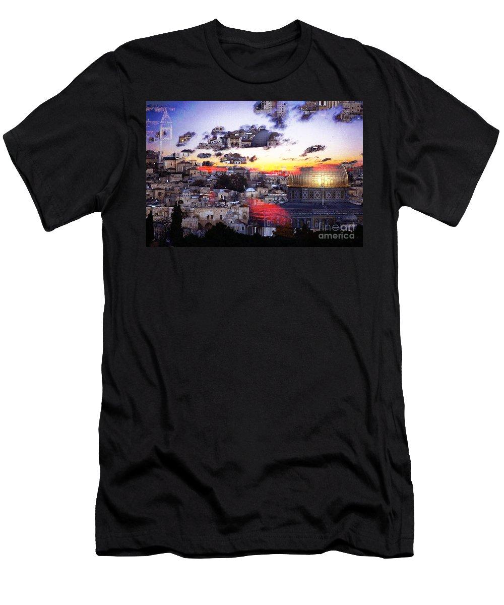 Israel Digital Art Men's T-Shirt (Athletic Fit) featuring the digital art Sacred by Yael VanGruber