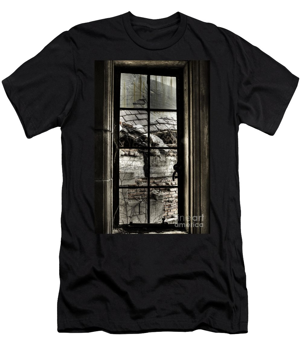 Window Men's T-Shirt (Athletic Fit) featuring the photograph Sad View by Margie Hurwich