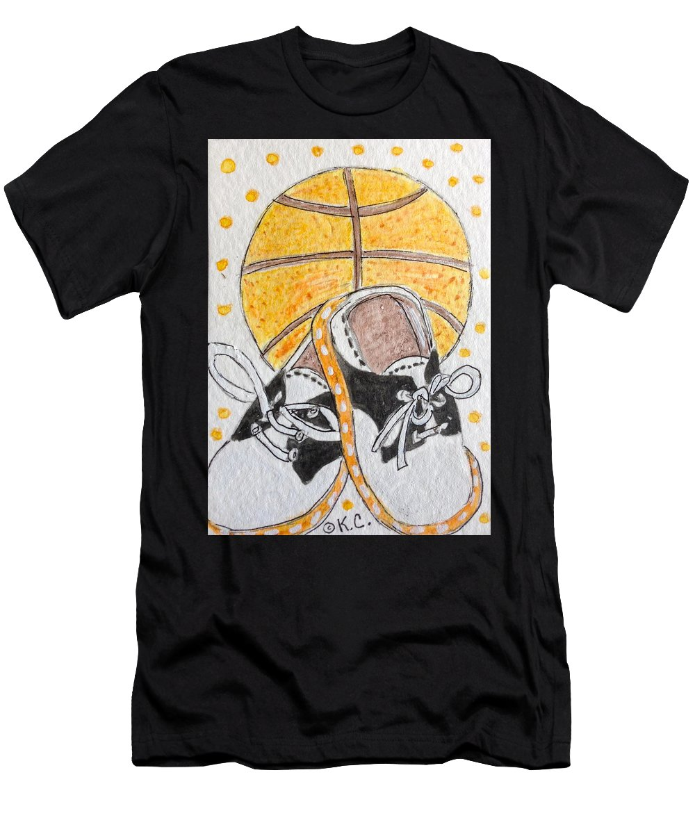 Basketball Men's T-Shirt (Athletic Fit) featuring the painting Saddle Oxfords And Basketball by Kathy Marrs Chandler