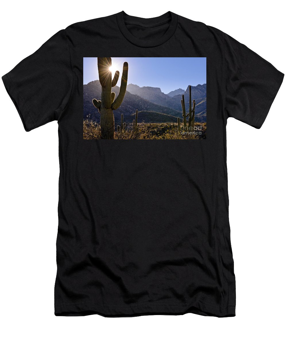 Nature Men's T-Shirt (Athletic Fit) featuring the photograph Saguaro Cacti And Catalina Mountains by John Shaw