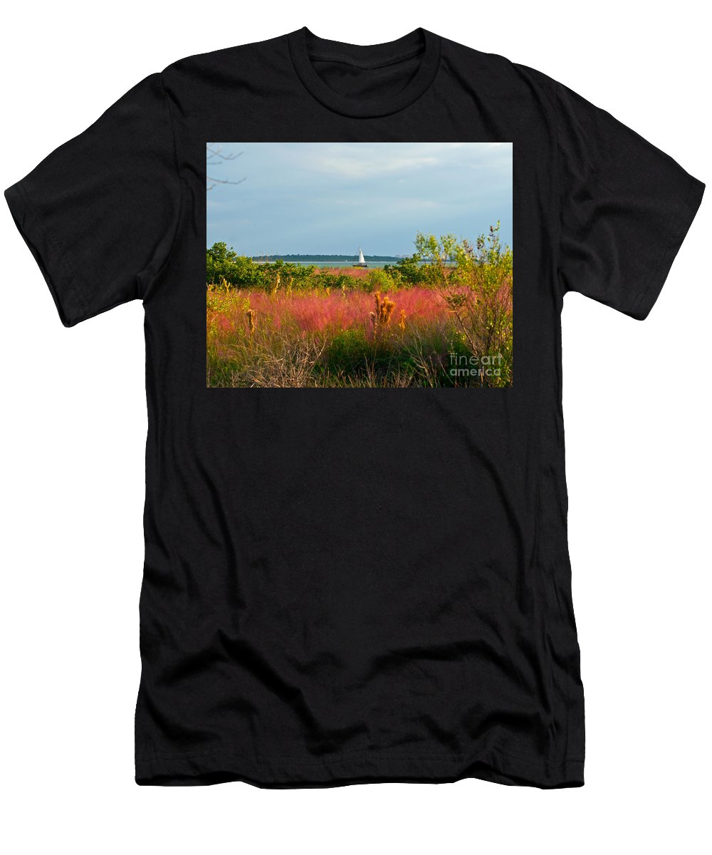Florida Men's T-Shirt (Athletic Fit) featuring the photograph Sail Boat Honeymoon Island by Stephen Whalen