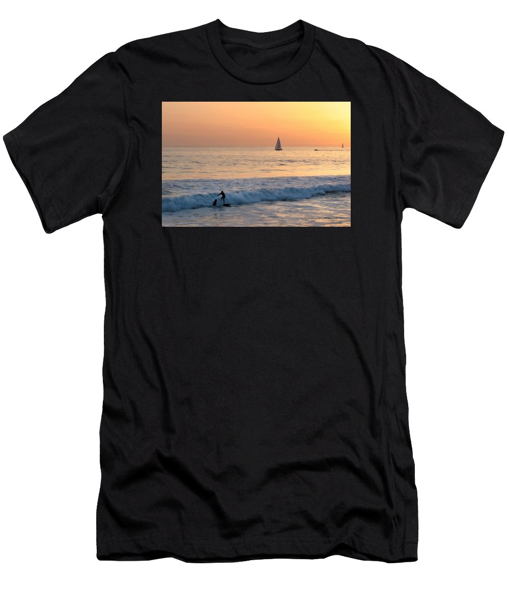 Venice Beach Men's T-Shirt (Athletic Fit) featuring the photograph Sailboats And Surfers by Art Block Collections