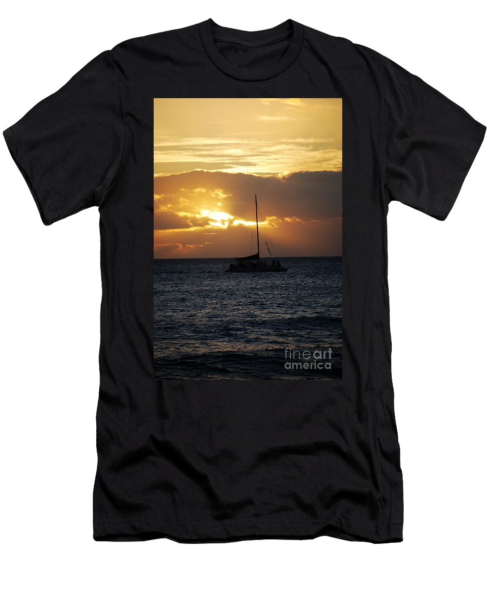 Maui T-Shirt featuring the photograph Sailboat At Sunset In Maui Hawaii by DejaVu Designs