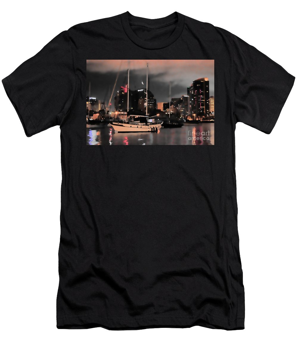 San Diego Bay Coronado City View Night Skyline Sailboat Reflection Water Pacific Ocean Men's T-Shirt (Athletic Fit) featuring the photograph Sailboats Sleep by RJ Aguilar
