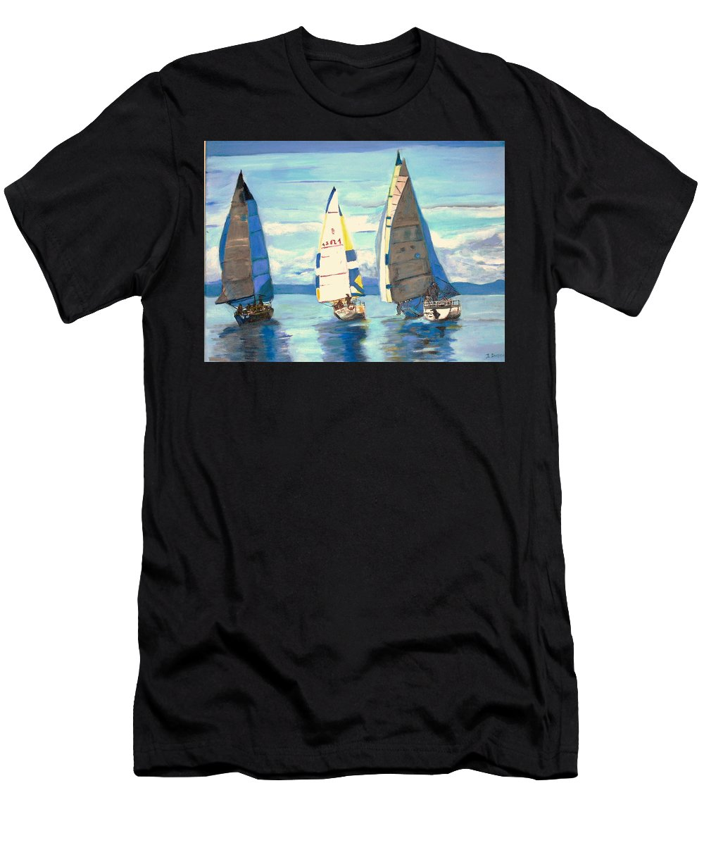 Seascape Men's T-Shirt (Athletic Fit) featuring the painting Sailing Regatta At Port Hardy by Teresa Dominici