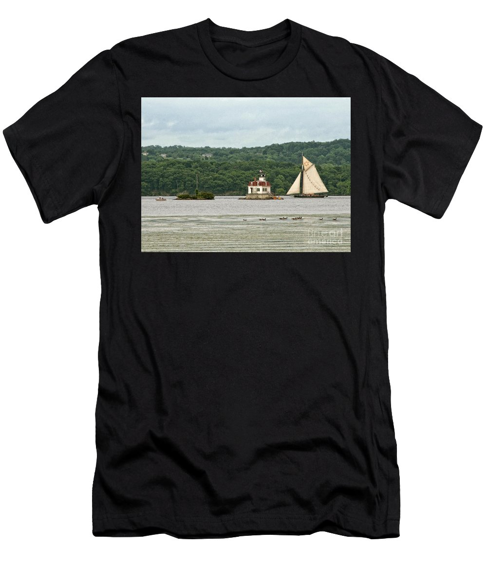 Hudson River Men's T-Shirt (Athletic Fit) featuring the photograph Sailing Ship by Claudia Kuhn