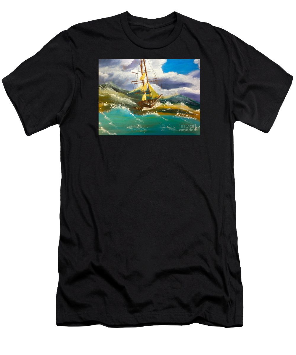 Nature Men's T-Shirt (Athletic Fit) featuring the painting Sailing Ship In A Storm by Pamela Meredith