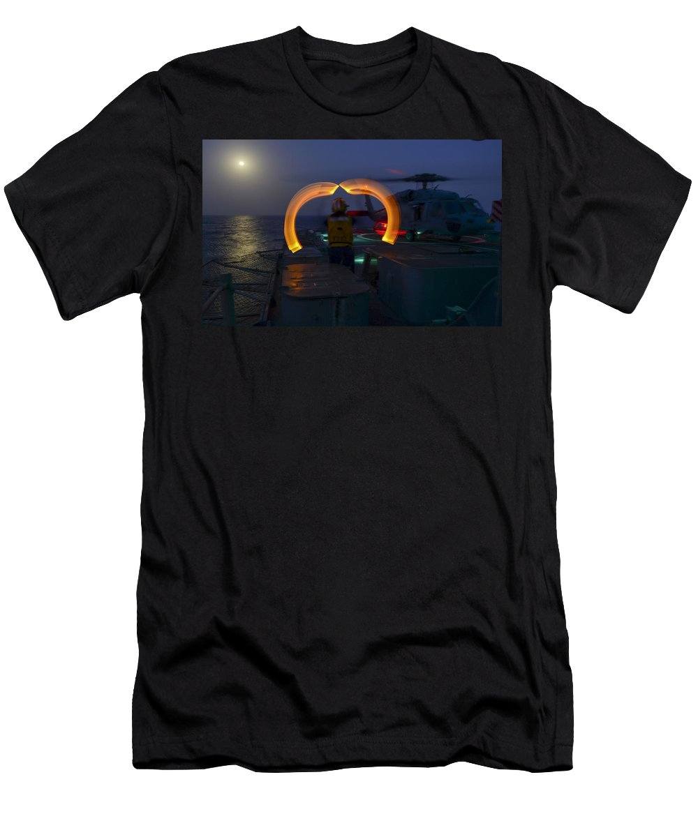 Uss Monterey Men's T-Shirt (Athletic Fit) featuring the photograph Sailor Signals by Mountain Dreams