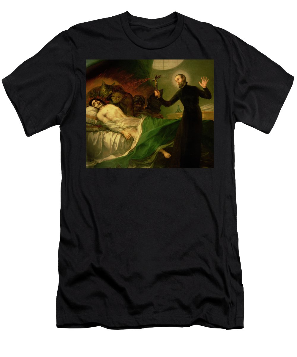 Goya Men's T-Shirt (Athletic Fit) featuring the painting Saint Francis Borgia Helping A Dying Impenitent by Goya
