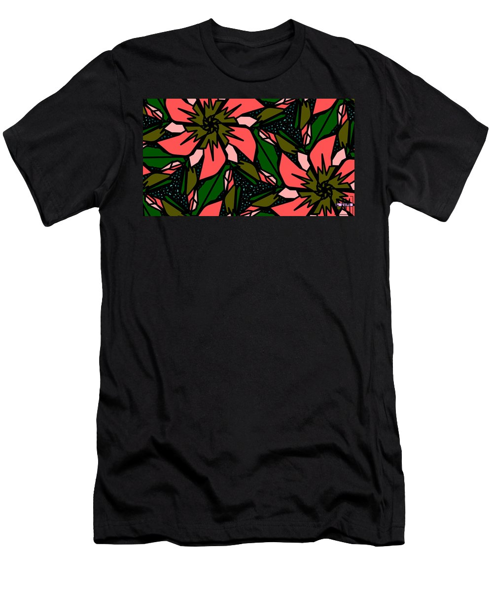 Salmon-pink Men's T-Shirt (Athletic Fit) featuring the digital art Salmon-pink by Elizabeth McTaggart