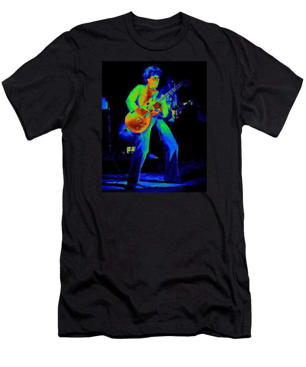 Sammy Hagar Men's T-Shirt (Athletic Fit) featuring the photograph Sammy Cosmic Hagar In Spokane 1977 by Ben Upham