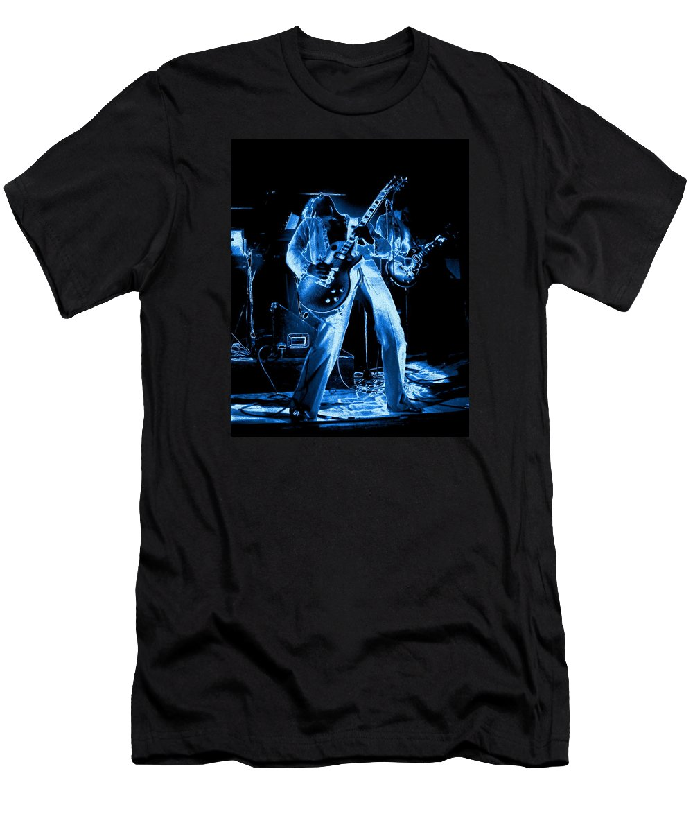 Sammy Hagar Men's T-Shirt (Athletic Fit) featuring the photograph S H Bending A Cosmic Note In Spokane In 1977 by Ben Upham