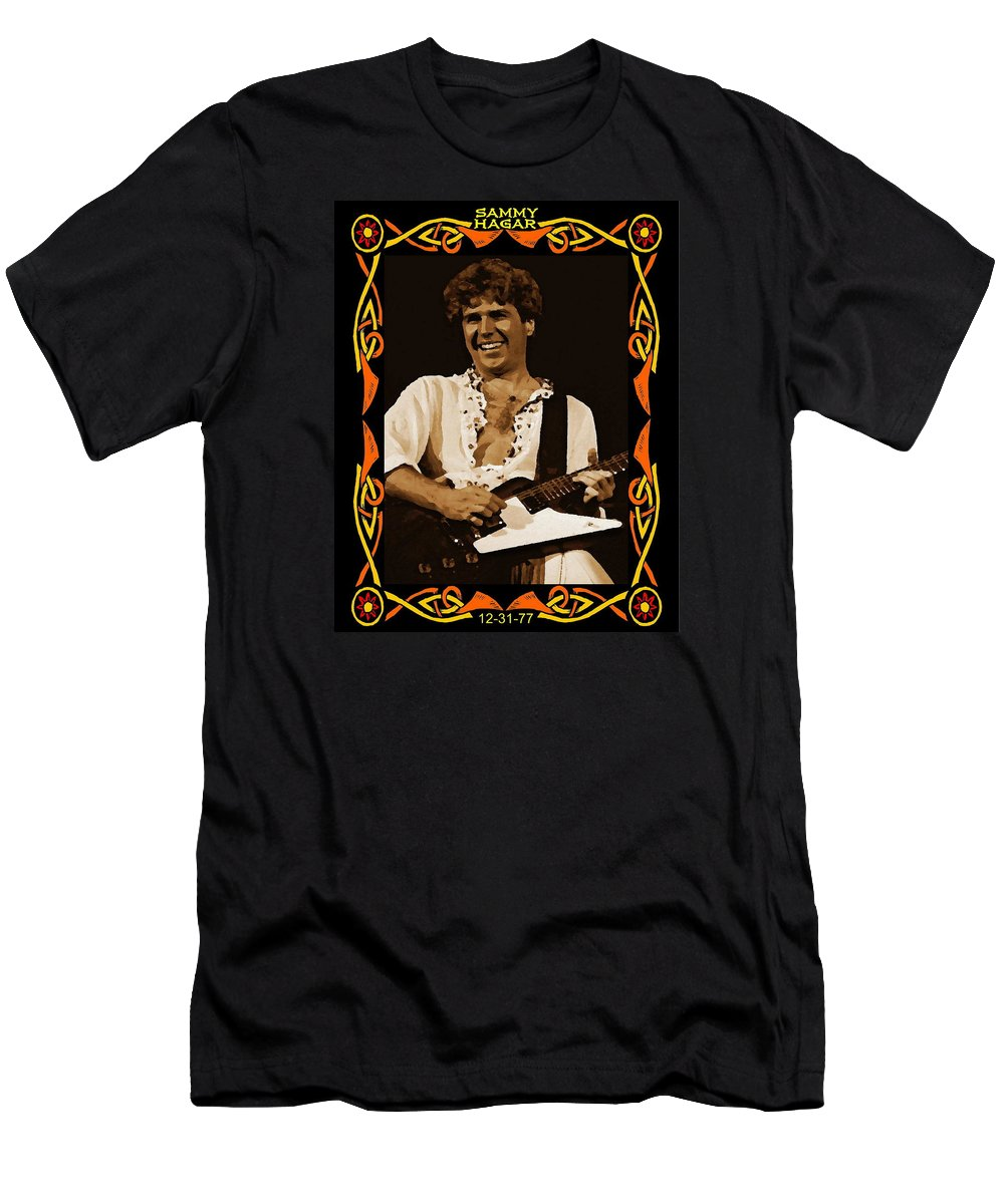 Sammy Hagar Men's T-Shirt (Athletic Fit) featuring the photograph S H In Oakland 1977 by Ben Upham