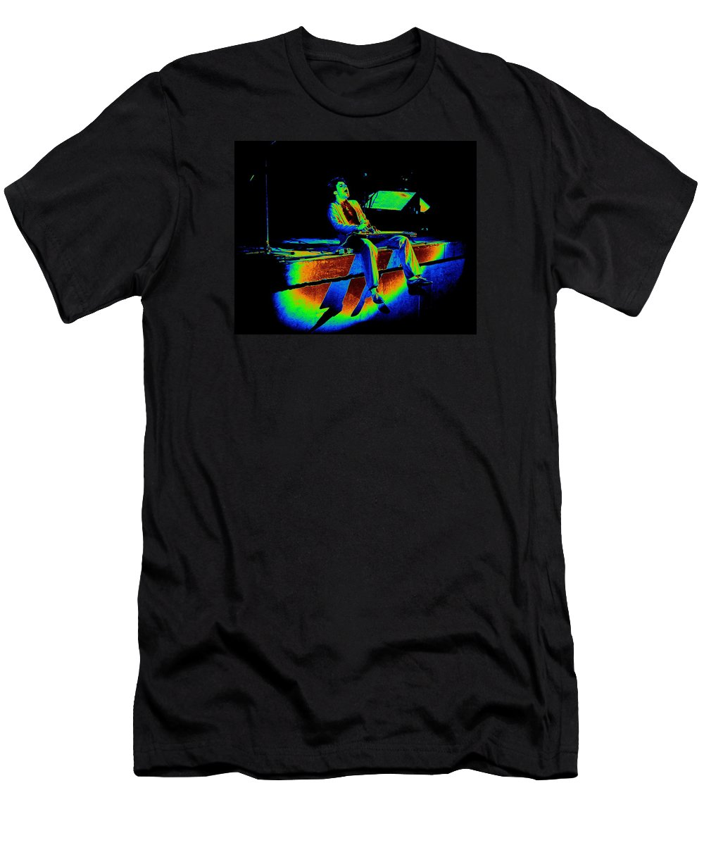 Sammy Hagar Men's T-Shirt (Athletic Fit) featuring the photograph S H Rocks Spokane 1977 by Ben Upham