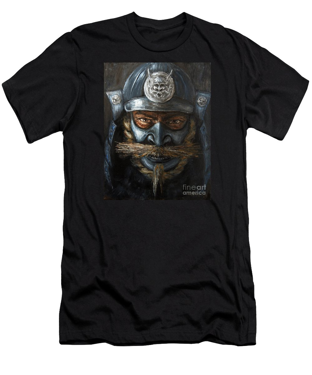 Samurai Men's T-Shirt (Athletic Fit) featuring the painting Samurai by Arturas Slapsys