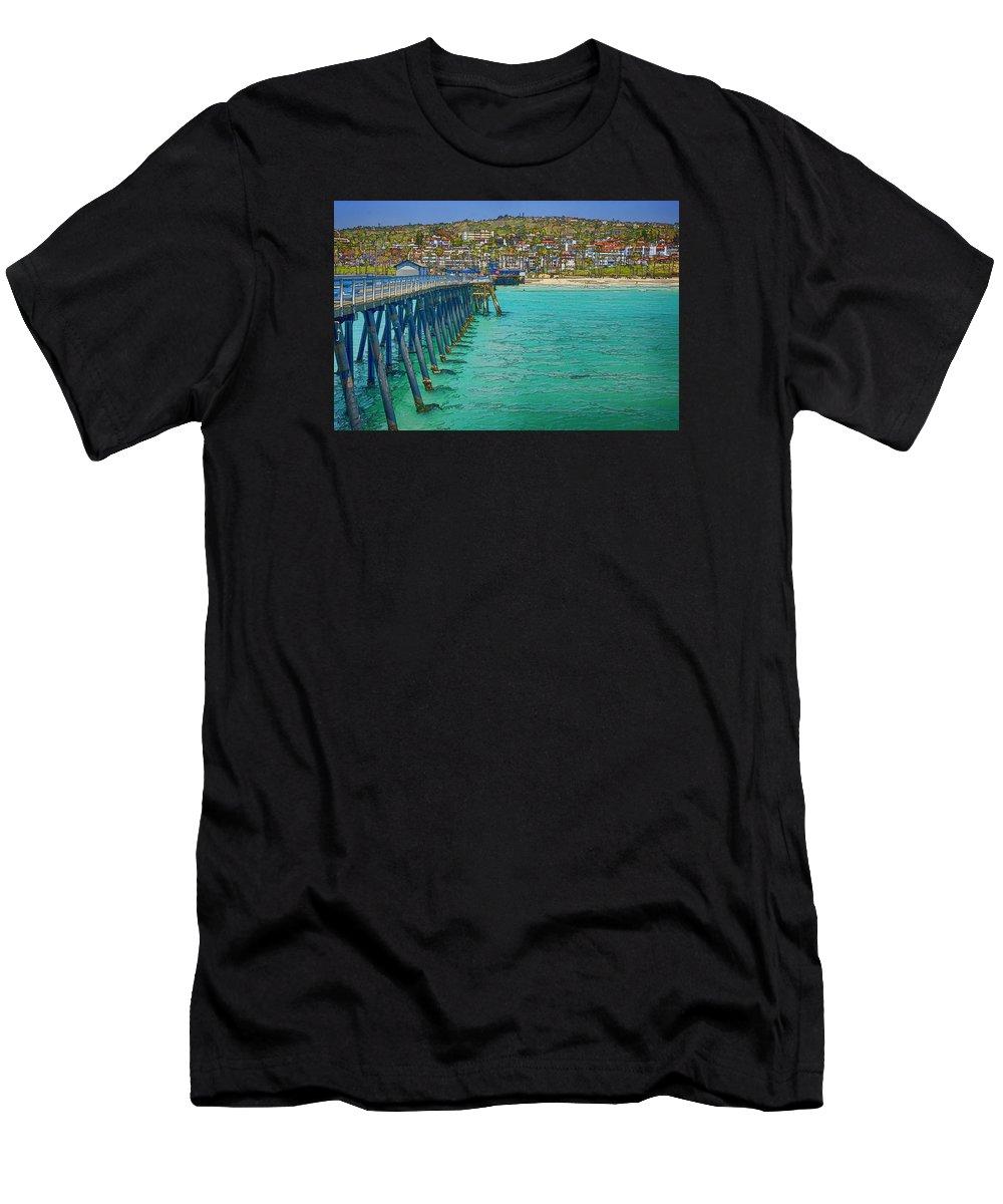 San Clemente Men's T-Shirt (Athletic Fit) featuring the photograph San Clemente Pier by Joan Carroll