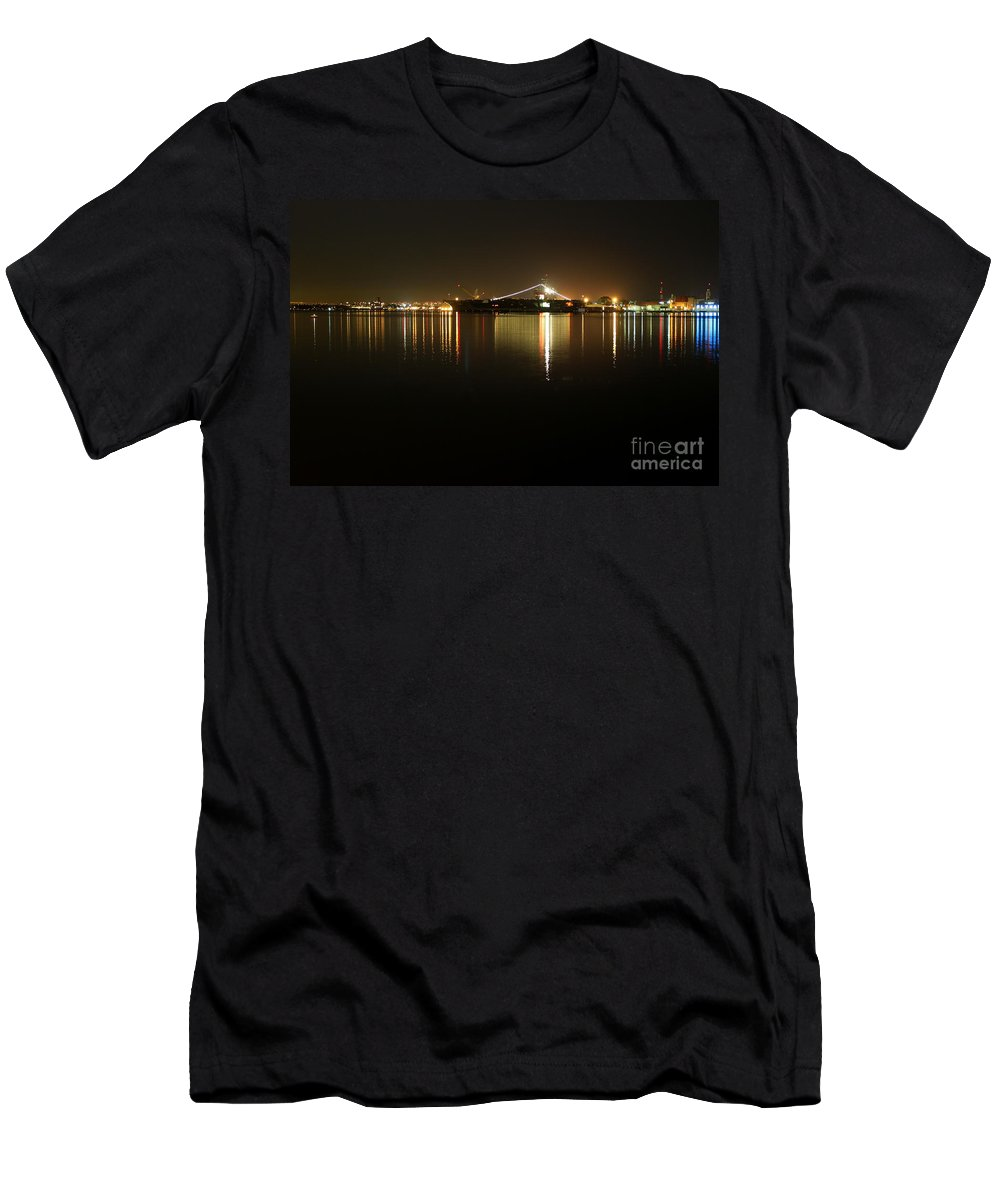 san Diego Men's T-Shirt (Athletic Fit) featuring the photograph San Diego Navy Harbor Night by Henrik Lehnerer