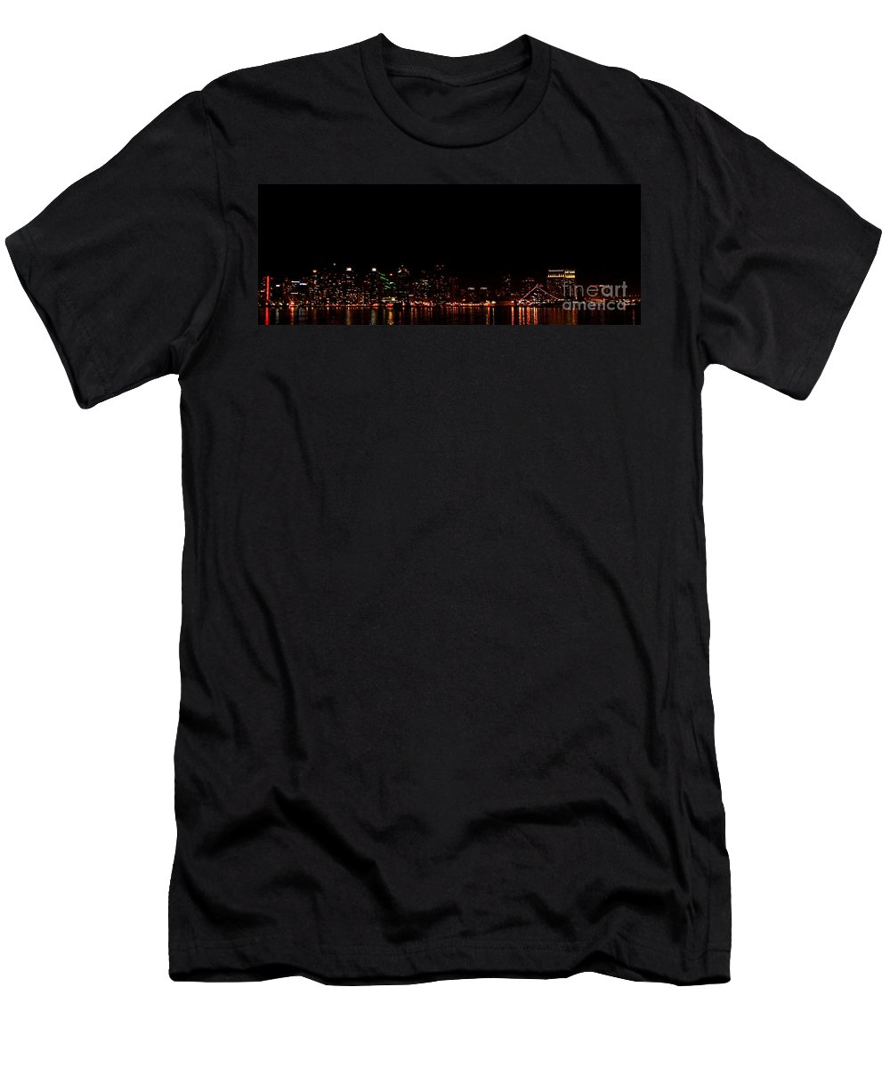 San Diego Men's T-Shirt (Athletic Fit) featuring the photograph San Diego Night Skyline by Tommy Anderson