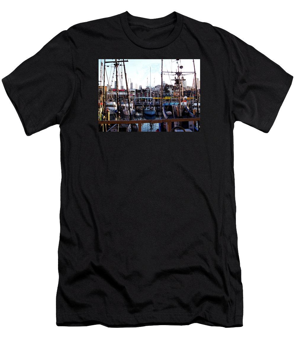 Sailboar Men's T-Shirt (Athletic Fit) featuring the photograph San Francisco Behind The Masts by Glenn Aker