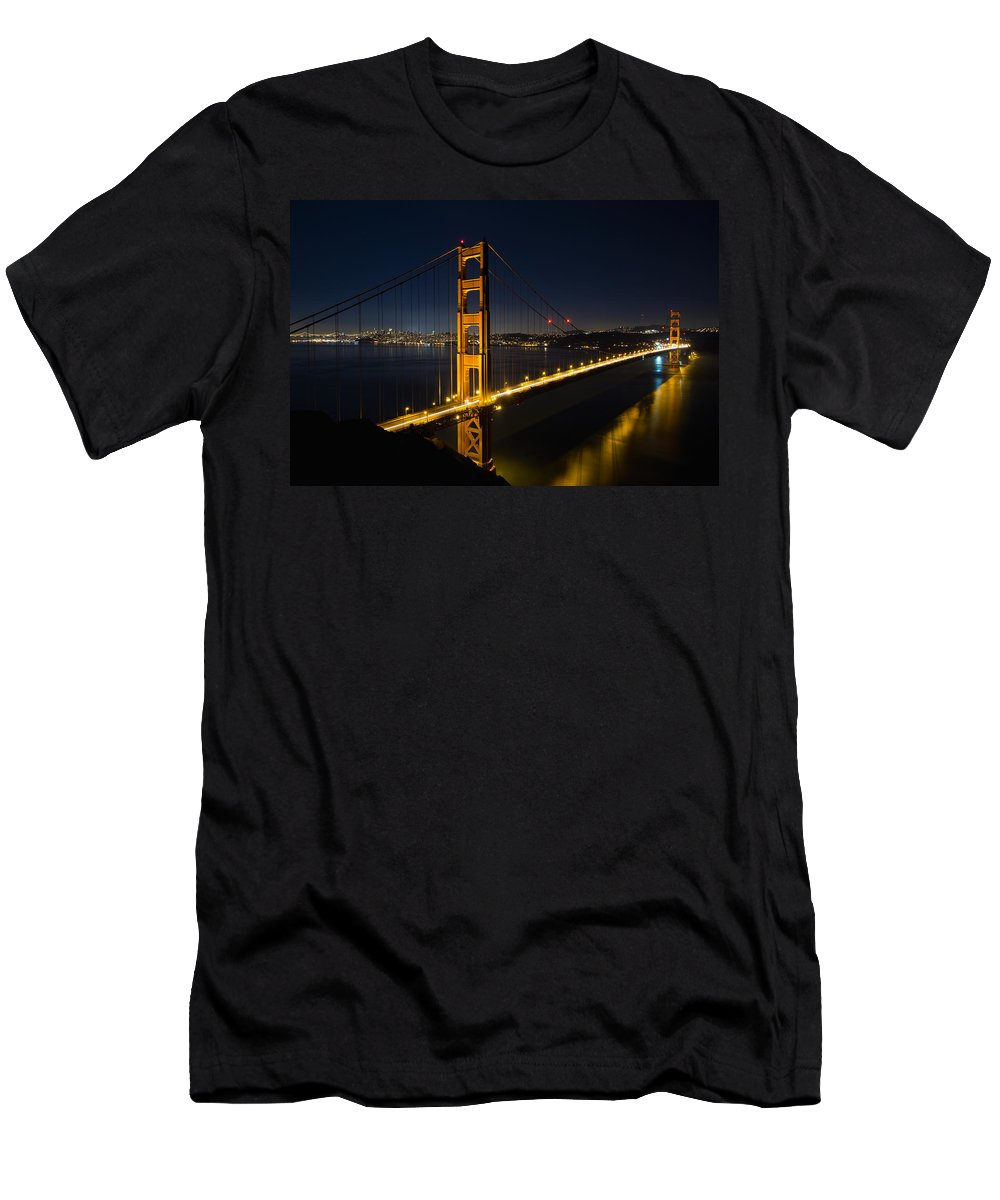 San Men's T-Shirt (Athletic Fit) featuring the photograph San Francisco Golden Gate Bridge At Blue Hour by Jit Lim