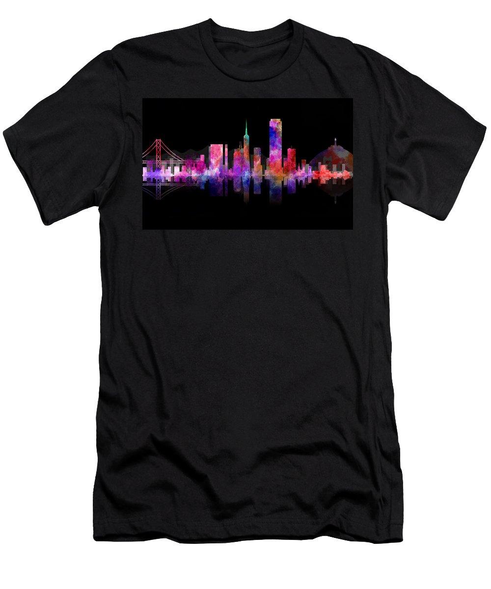 san Francisco Men's T-Shirt (Athletic Fit) featuring the digital art San Francisco Nights by Daniel Hagerman